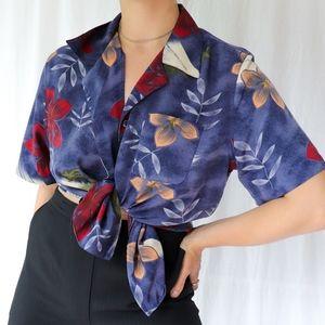 Vintage 90s purple blue Hawaiian print shirt